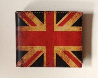 Men's Leather Wallet British flag Wallet Union Jack Wallet Red Wallet English flag Wallet Credit Card Holder UK flag accessories for him
