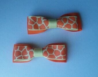 Orange Giraffe Print Barette - Set of two