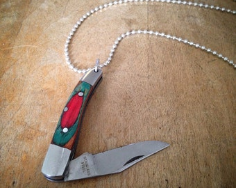 Miniature Pocket Knife Necklace, Color Wood Handle, Stainless Steel Blade, Charm & Chain, Colorwood Knife Jewelry, Miniature Folding Knife