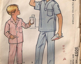 McCalls 5052 Boys Pajamas Pattern Size 8. Vintage 1959