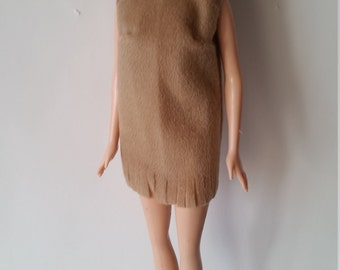 "B 031 Handmade simple beige moleskin shift with fringed bottom for 11 1/2"" fashion dolls"