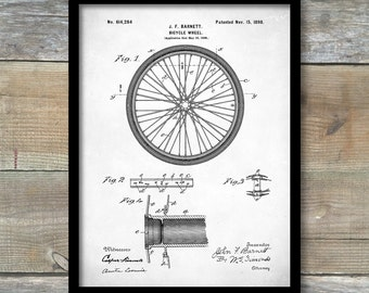 Patent Print, Bicycle Wheel Patent, Vintage Bicycle Wheel, Bicycle Poster, Antique Bicycle, Bike Poster, Bicycle Art, P269
