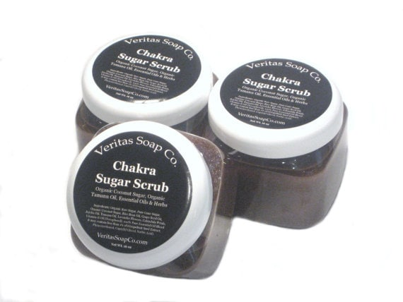 CHAKRA Sugar Scrub - Earthy Essential Oils with Organic Coconut Sugar, Organic Tamanu Oil & Herbs