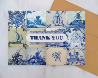 delft tile thank you card | 5x7 blue & white greeting card | blank inside
