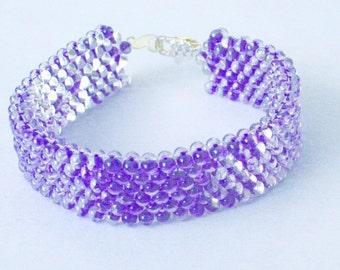 Purple Peanut-Shaped Glass Bead Beadwoven Small Cuff Bracelet