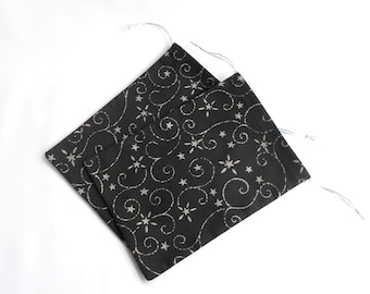 Fabric gift bags, handmade gift bags, black gift bags, reusable gift bags, small gift bags, fabric gift pouches, set of two