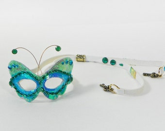 Doll Mask For Barbie - Blue Green Butterfly - Genuine White Leather - Super Glitter Scales - Miniature - Masquerade Costume Party Fantasy