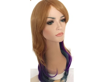 Long curly multi-color wig.  Synthetic wig -high quality daily wig