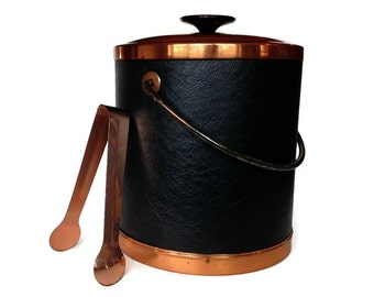 Coppercraft Ice Bucket, Copper, Black Leather, Mid Century Barware, Home Bar