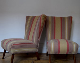 Vintage Retro Reupholstered Striped Bedroom Chair Mid Century