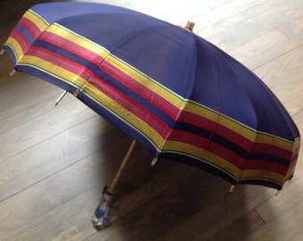 Vintage 40's Sweson blue stripe satin umbrella parasol