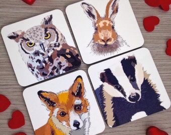 Woodlands friends coasters. Badger fox owl hare. Countryside animals. British wildlife. Wildlife coasters.