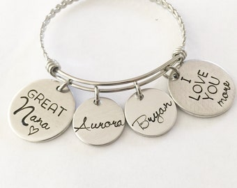 Mother's jewelry - Grandmother's jewelry - Name bracelet -  Hand stamped bracelet - Love you more - Great Nana - Grandmother gift