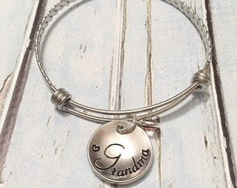 Hand stamped bracelet- Mother's jewelry - Grandmother's jewelry - Name bracelet -  Nana jewelry - Gift for mom - Custom gift -