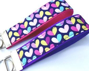 Key Fob Wristlet Rainbow Hearts Purple Pink/Key Chain Wristlet/Key Fob Keychain/Cute Key Chain/Fabric Key Fob/Teacher Gift/Womens Keychain