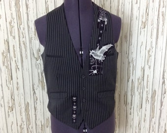 Mans gothic vest / waistcoat with bat and skulls /upcycled / refashioned / unique / ooak
