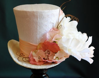 Tea-party Mini Top Hat,Bridal Mini Top Hat in Lime and Pink,Spring Flower Mini Top Hat,Kentucky Derby Hat-Alice in Wonderland-Ready to Ship