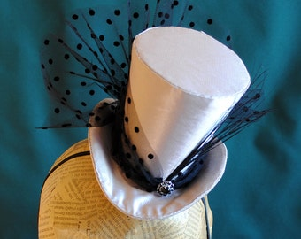 Evening Mini Top Hat in Beige and Black,Victorian Tea-party Mini Top Hat,Victorian Wedding Hat- Ready to Ship