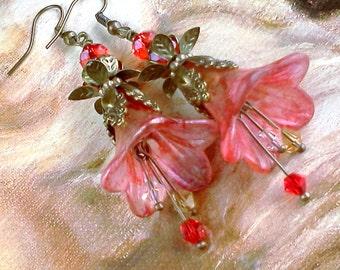 Lucite Earrings, Vintage Style Earrings, Hand Painted Earrings, Boho Earrings, Lucite Flower Earrings, Red Flower Earrings, Gypsy,  Bohoo