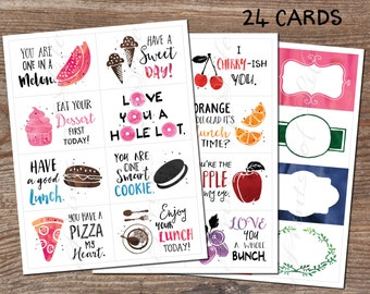 Lunchbox cards. Set 2. Fruit & Lunch. Instant download printable PDF. 24 encouragement cards. Inspirational notes. Child Students Kids Adult