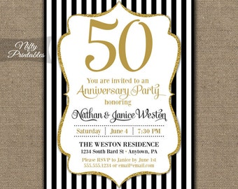 50th Anniversary Invitations - Printable Black & Gold Fiftieth Anniversary - Black White Stripes 50 Anniversary Party Invites 50 Years 60th