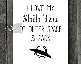 Shih Tzu Print - INSTANT DOWNLOAD Shih Tzu Art - Funny Shih Tzu Poster - Dog Shih Tzu Gifts - Printable Shih Tzu Wall Art - Funny Dog Print