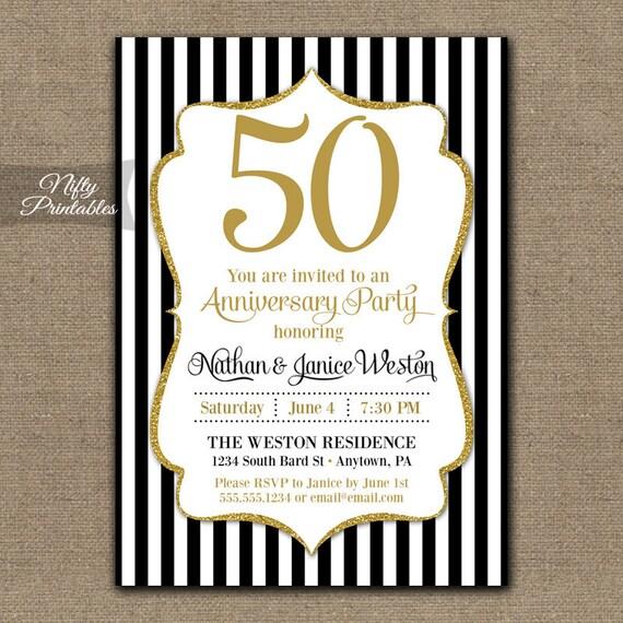 Super 50 anniversario inviti stampabile nero & oro cinquantesimo VQ95