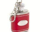 Personalized Red Leather Stainless Steel Keychain Flask perfect Christmas Gift for Her Bridesmaid gifts
