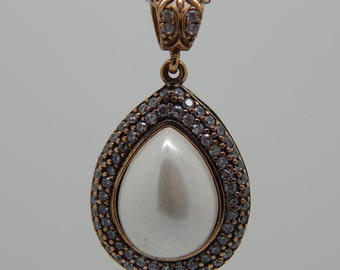 Pearl and Diamond Pendent  - Silver Pearl Pendent - Large Pearl Pendent  - Pearl Jewelry - Artisan Jewelry - -