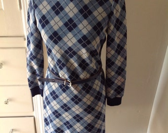 Supercute Argyle Plaid Dress,Shades of Blue and Navy, Knit Dress