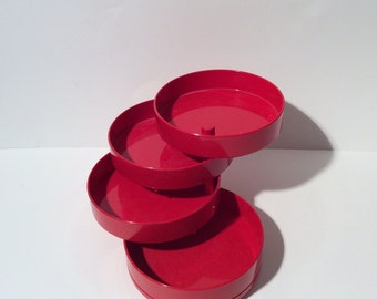 Vintage 1980s Interdesign Jewelry/Organizer Container in Bright Red