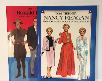 NANCY REAGAN Paper Dolls, Ronald Reagan paper dolls, vintage paper doll, Tom Tierney paper doll, President paper doll, First Lady paper doll