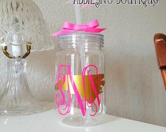 monogrammed mason jar tumbler, Mason Jar tumbler, Monogrammed Cup, State tumbler, Personalized tumbler, bridesmaid gifts, wedding gifts, cup