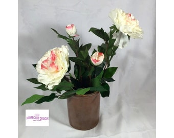 New - Silk Floral Arrangement - White & Pink Peonies in a Genuine Antique Early 1900s Salt Glazed Pottery Crock