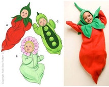 Sewing Pattern Out of Print - Halloween Pattern Infant Pattern Costume Pattern in Three Views, Pea Pod, Carrot, Flower Kwik Sew #K3892