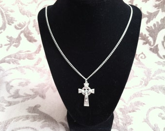 Celtic Crucifix pendant necklace. Catholic jewelry. Christian, Irish, religious. Confirmation gift. First Communion gift