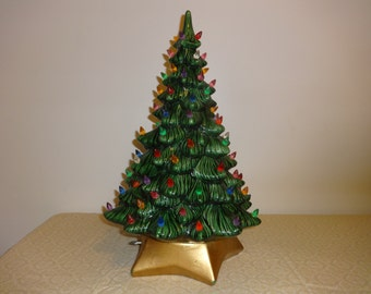 Vintage White Ceramic Christmas Tree with Multi Colored Lights