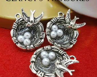 Bird Nest charms,Bird Charms, Charm Lot, Charm Charm Findings, Antique Silver Acrylic Eggs, Nature Charms, Jewelry Findings, U.S. Seller