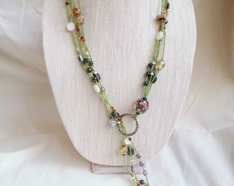 Necklace - Yellow Green Long Beaded Multi Strand Lariat, Glass Beads, Floral Patterns, Shell Beads, Unique Style, Handmade Artisan Jewelry