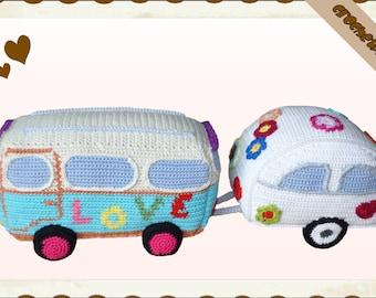 Crochet Pattern (011): Hippie Van with Trailer