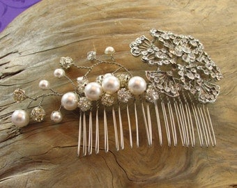 Wire Wrapped Hair Comb with Rhinestones, White Swarvoski Pearls and Clear Crystals/ Handmade/ Hand Crafted/ Bridal/ Bride
