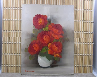 Original oil painting of flowers in a vase