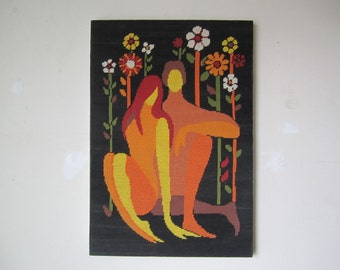 Beautiful  vintage needlepoint of Adam and Eve in the Garden of Eden