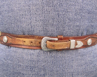 Leather tan brown tooled belt in colourful  floral design