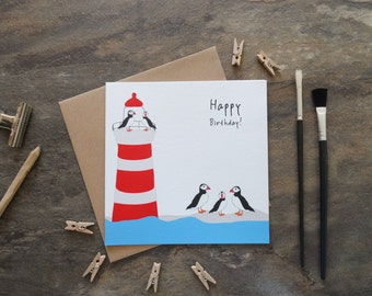 By the Shed - Birthday Greetings Card - Lighthouse, Puffins, Coast, Beach, Seaside, Sea, Shore, Sand, Birds, Seagull,