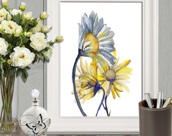 Yellow and blue home decor Daisy printable Daisies print Large print Bedroom decor Flower watercolor art Yellow floral Canvas DOWNLOAD