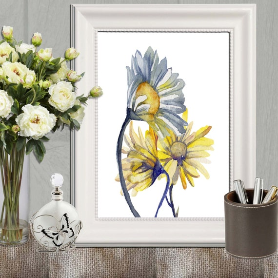 Yellow And Blue Home Decor Daisy Printable Daisies Print Large