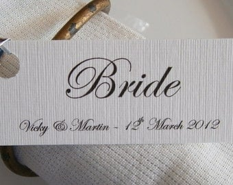 10 Personalised Wedding Place Card Name Tags