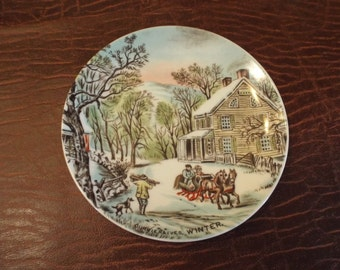 Currier and Ives Winter Scene Collector Plates, Vintage Collector Plate with Hanger, Christmas, Holiday