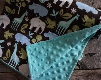 Baby Boy Minky Stroller Blanket-Zoology